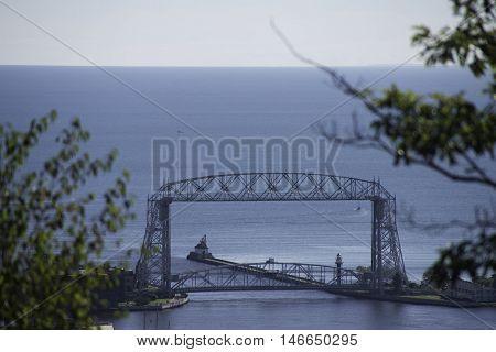 Bridge in Duluth Minnesota with Lake Superior.