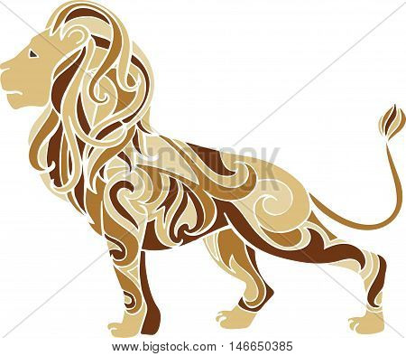 Hand drawn vector ornate lion illustration. Decorative doodle lion drawing
