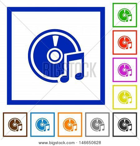Set of color square framed Audio CD flat icons