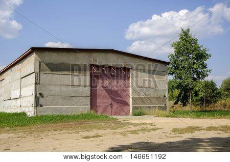 Warehouse. Closed warehouse doors. Warehouse metal door