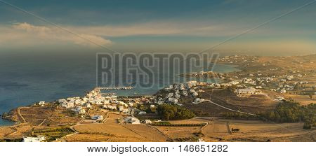 Aerial view of local villages at Paros island in Greece. Panoramic view.