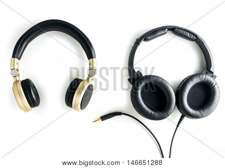 wireless headphone and wired headphone isolated on white
