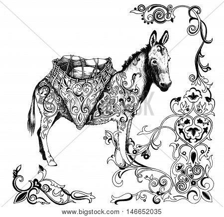 Donkey, made with arabic patterns. Hand drawn illustration.