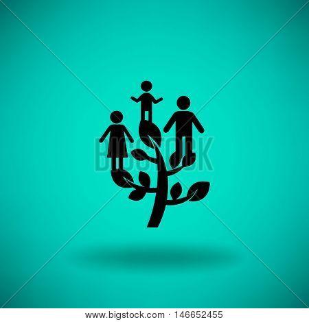 Flat icon. Family Tree.