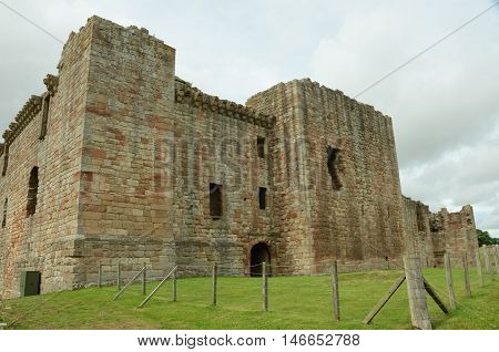 An exterior view of the ruins of Crichton Castle