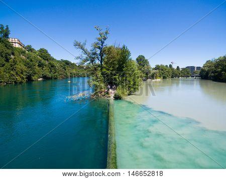 Aerial View Of Arve An Rhone River Confluent In  Geneva Switzerland