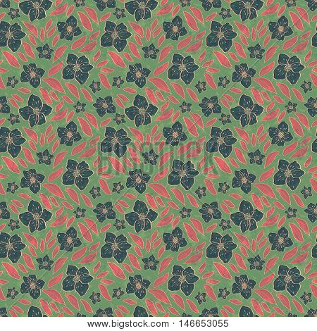 Abstract Floral Seamless Pattern With Flowers Sakura And Leaves