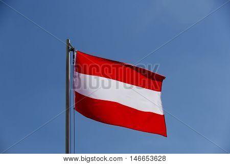 National Flag Of Austria On A Flagpole