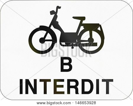 Additional Road Sign Used In Belgium - Mopeds Class B Forbidden