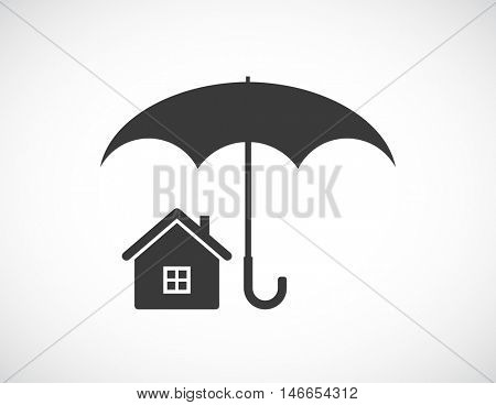 house under umbrella - concept icon