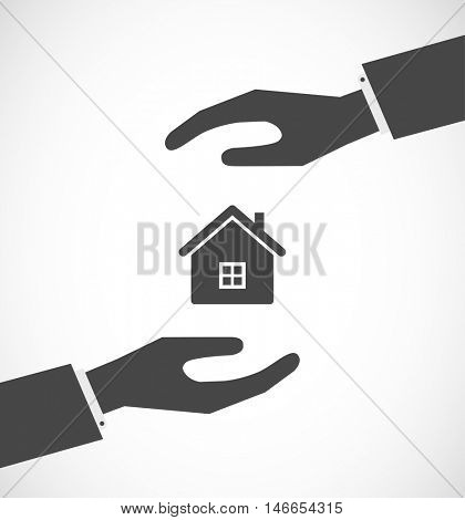 house between hands - concept icon