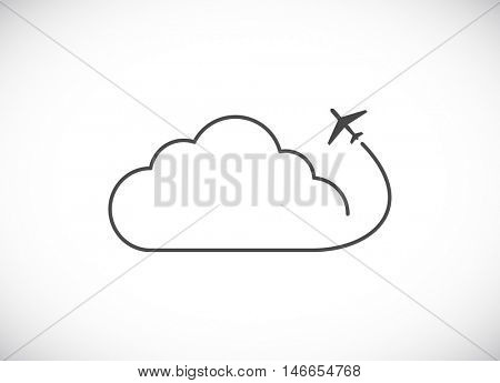 plane with cloud web icon