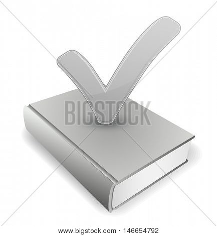book with checkmark symbol icon 3d