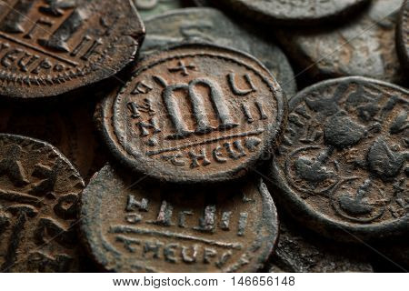 Pile Of Ancient Copper Byzantine Coins