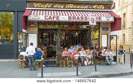 Paris France-September 10 2016 : The traditional French cafe des Beaux Arts located at 7 Qui Malaquais in Paris France.