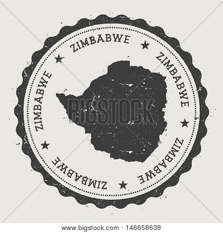 Zimbabwe Hipster Round Rubber Stamp With Country Map. Vintage Passport Stamp With Circular Text And