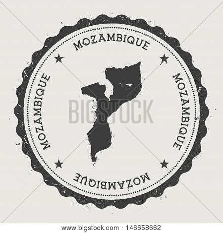 Mozambique Hipster Round Rubber Stamp With Country Map. Vintage Passport Stamp With Circular Text An
