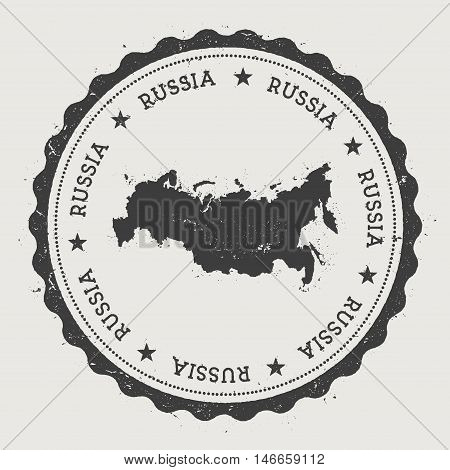 Russian Federation Hipster Round Rubber Stamp With Country Map. Vintage Passport Stamp With Circular