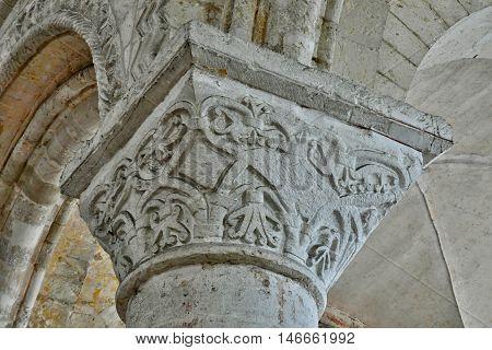 Saint Martin de Boscherville France - june 22 2016 : Detail of the Saint Georges abbey in Seine Maritime
