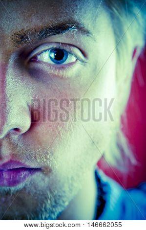 Young Man Half Face