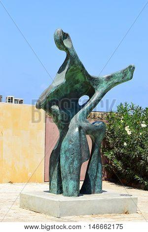 TEL AVIV, ISRAEL - August 24, 2016: modern bronze sculpture by Eli Llan, israeli sculptor in the Old City of Jaffa on august 24, 2016 Tel Aviv, Israel