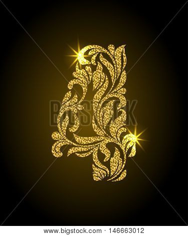 4. Decorative Font with swirls and floral elements. Ornate decorated digit four with golden glitter