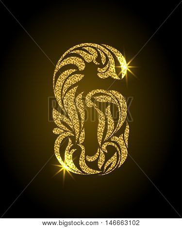 6. Decorative Font With Swirls And Floral Elements. Ornate Decorated Digit Six With Golden Glitter