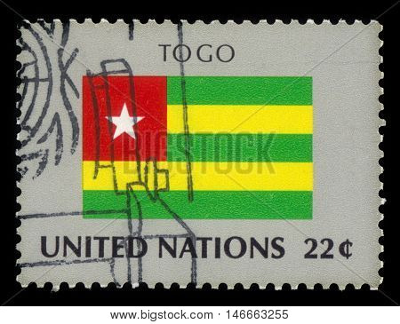 United Nations, New York - CIRCA 1986: a stamp printed in New York shows flag of Togo, flag series, circa 1986
