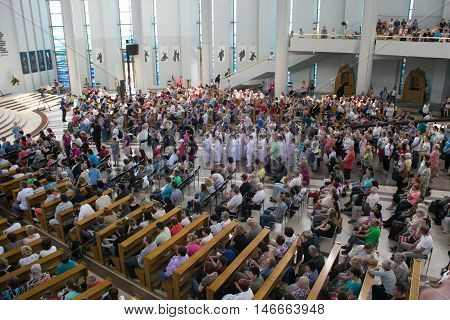 POLAND, KRAKOW - MAY 28, 2016: Sanctuary in Lagiewniki.  Basilica of the Divine Mercy. Millions of pilgrims from around the world visit it every year. Open performance.