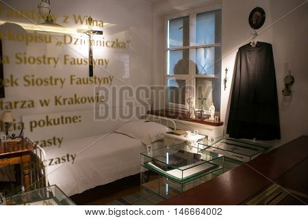 POLAND, KRAKOW - MAY 28, 2016: The cell of Saint Faustina Kowalska located behind the glass. Sanctuary in Lagiewniki. Millions of pilgrims from around the world visit it every year.