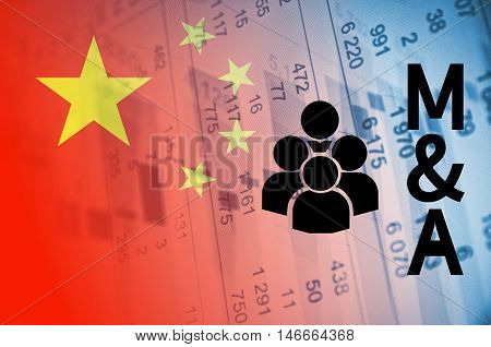 Group of people icon with inscription M&A. Chinese M&A market.