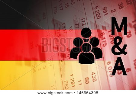 Group of people icon with inscription M&A. Germany M&A market.