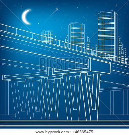 Flyover, architectural and infrastructure illustration, transport overpass, highway, white lines urban scene, night city on background, vector design art
