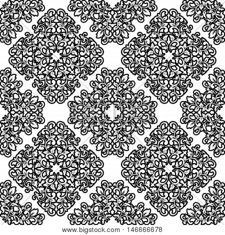 Classic Seamless Black And White Pattern. Vintage Style.