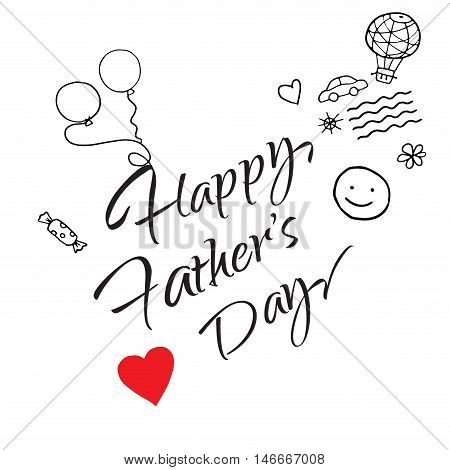 Happy Father's Day greeting card. Calligraphy card with hearts and balloons, car, waves. Vector illustration