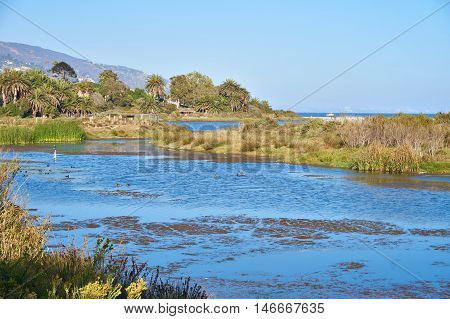 Beautiful Lagoon in Malibu at sunset. Malibu Lagoon State Beach