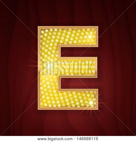 Gold light lamp bulb letter E. Sparkling lightning glitter shine alphabet for light board. Fashion show, nightclub stylish glowing shining golden alphabet letter E