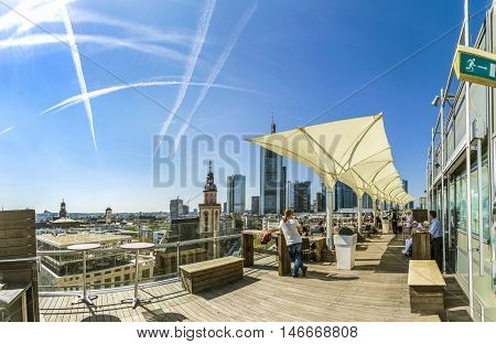 People Enjoy The View From The Panorama Platform To The Skyline In Frankfurt, Germany