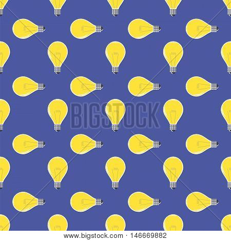 Yellow Lamp Seamless Pattern on Blue. Glass Bulb Background