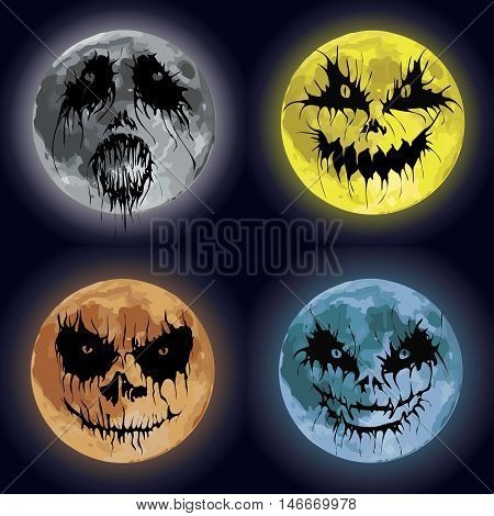 Moon planet with different Halloween emotion variation and night moonlight. Scary funny spooky horror 4 icons set images expressions. Side view close-up vector illustration on dark blue background