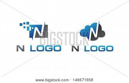 N Letter Logo, Lettering, technology logo design,