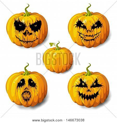 Halloween pumpkin gourd or squash 5 icons set different emotion variation. Scary Jack-o-lantern funny spooky horror images expressions. Side view close-up vector illustration