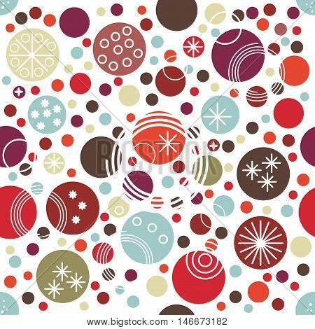 Festive seamless pattern with funny polka dot of different size. Red, blue, dark green, brown, orange circles with texture of different geometric shapes - stars spirals on white. Vector illustration.