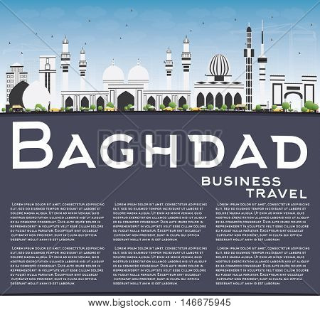 Baghdad Skyline with Gray Buildings, Blue Sky and Copy Space. Business Travel and Tourism Concept with Historic Buildings. Image for Presentation Banner Placard and Web Site.