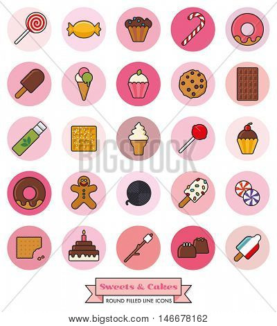 Collection of candy, sweets, cookies and cakes filled line icons in pink toned circles