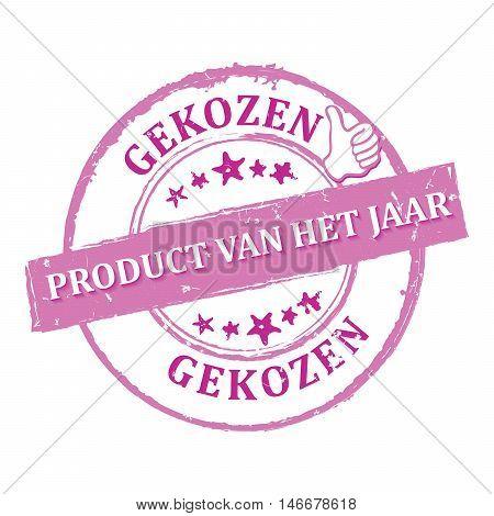 of the year (Dutch language: Product van het jaar gekozen) - grunge pink printable label / i