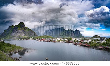 Storm cloud Lofoten is an archipelago in the county of Nordland, Norway. Is known for a distinctive scenery with dramatic mountains and peaks, open sea and sheltered bays, beaches and untouched lands.
