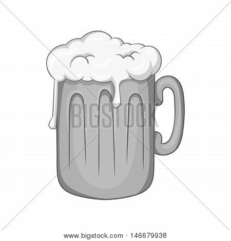 Mug with beer icon in black monochrome style isolated on white background. Alcoholic beverages symbol vector illustration
