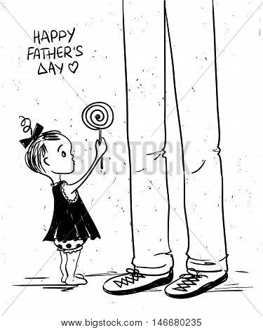 Sketch funny illustration with cute little baby girl giving lollipop to her father. Happy Father's day greeting card.