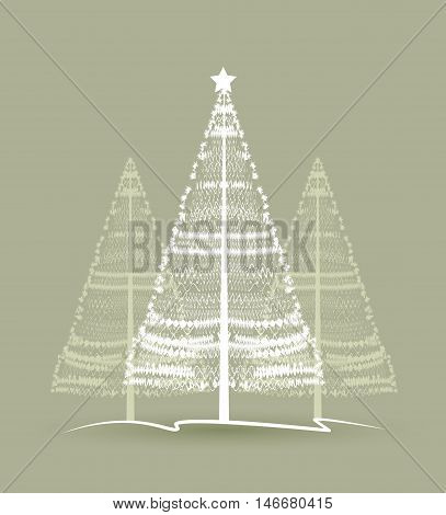 Vector Christmas tree on a green background